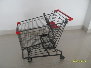 চীন Durable Grocery Shopping cart trolley With welded low tray and 4x4inch swivel lfat casters কারখানা
