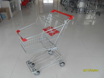 চীন Chrome Supermarket Shopping Trolley , 60L Wire Shopping Carts With Wheels কারখানা