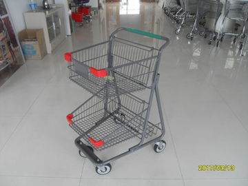 চীন Two Layer Basket Wire 4 Wheel Shopping Trolley / Cart With Color Poweder Coating কারখানা