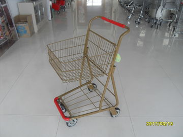 চীন Supermarket 40 L Singel Basket Metal Shopping Cart With Wheels And Front Bumper কারখানা