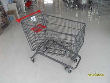 Large Capacity 4 Wheel Supermarket Shopping Trolley With Red Handle