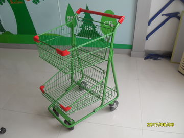 চীন Two Basket Grocery Shopping Trolley Wire Shopping Cart 656x521x1012mm কারখানা
