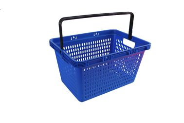 চীন 28L Blue PP Plastic Shopping Baskets With Handles For Supermarkets / Stores কারখানা