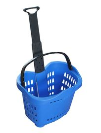 Colorful Plastic Rolling Shopping Basket With Wheels 55l , Plastic Shopping Trolley Baskets