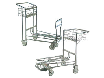 Portable Four Wheel 304 Stainless Airport Luggage Trolley With Automatic Brake