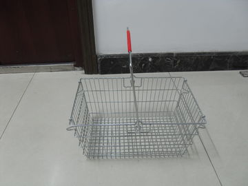 চীন Wire Metal Shopping Basket With Single Handle For Supermarket And Store 28L কারখানা