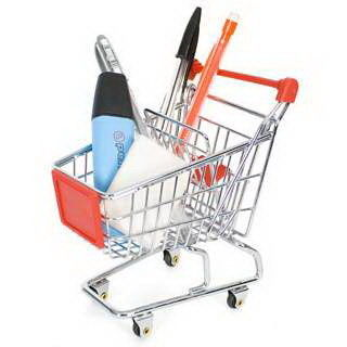 Retail Shop Equipment heavy duty shopping cart with red plastic advertisement board